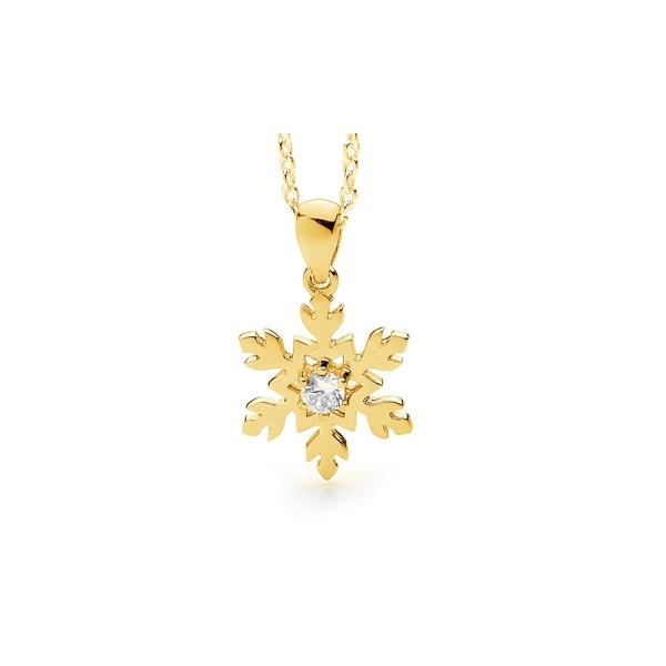 Snowflake Necklace in 9ct Gold and Diamond 2
