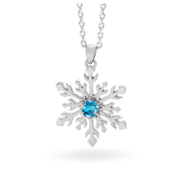 Snowflake Necklace in 9ct Yellow or White Gold 3