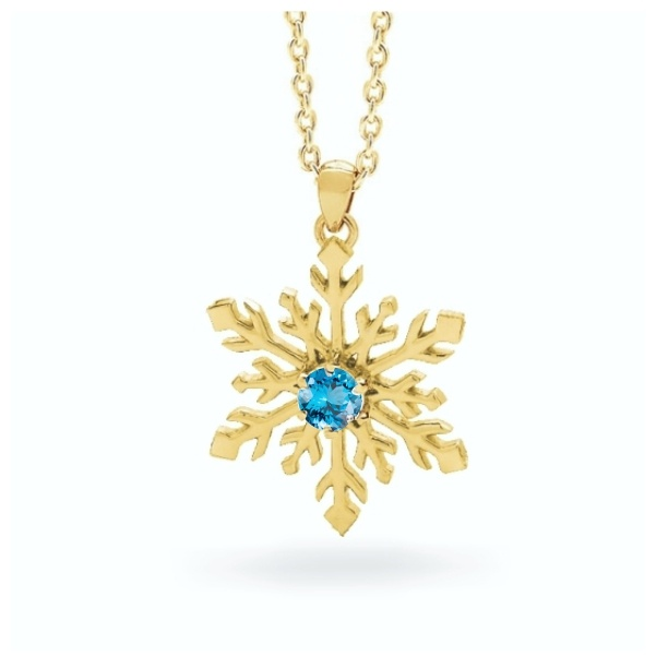 Snowflake Necklace in 9ct Yellow or White Gold 1
