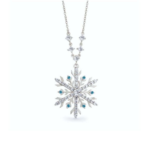 Snowflake Necklace with Blue Diamonds 2