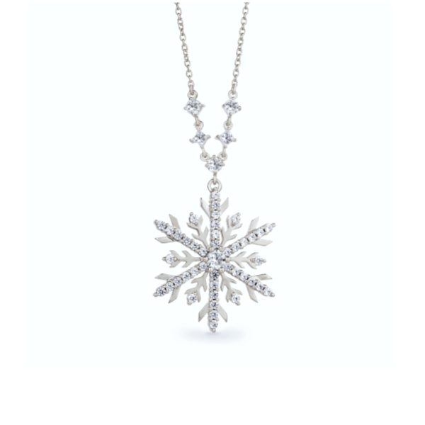 Snowflake Necklace with Blue Diamonds 5