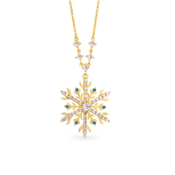 Snowflake Necklace with Blue Diamonds 3