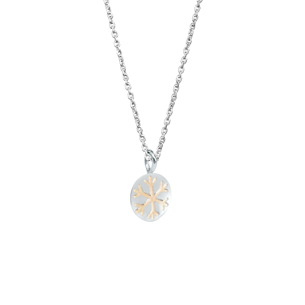 Snowflake Necklace with Silver Snow Bead Pendant 4
