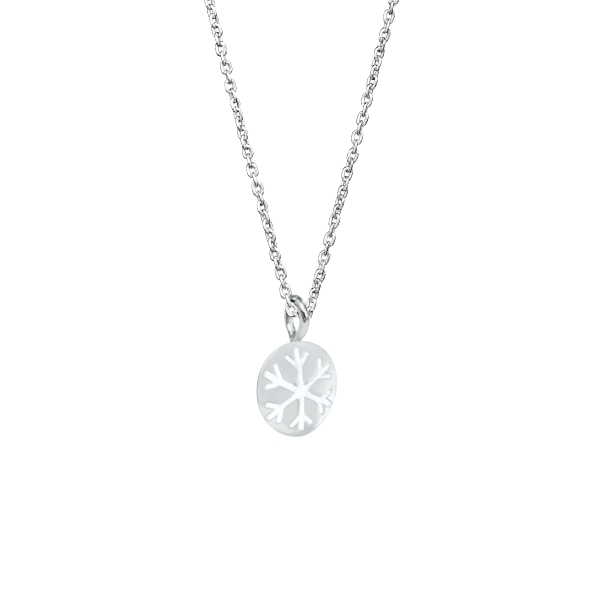 Snowflake Necklace with Silver Snow Bead Pendant 2