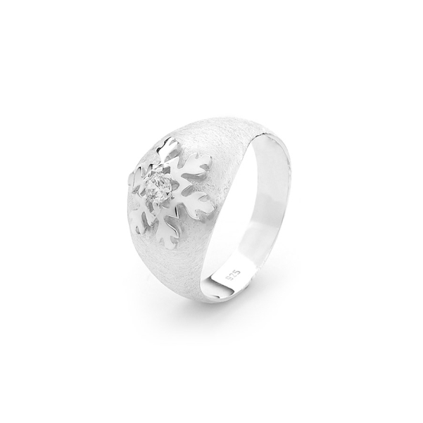 Snowflake Ring in Sterling Silver Domed Band 1