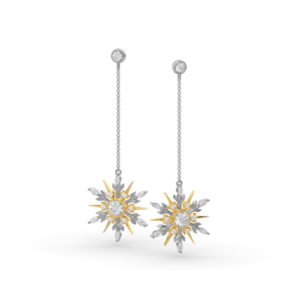 SnowJewel Earrings in White and Yellow Gold